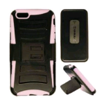 Cell Armor Hybrid Novelty Case for Apple iPhone 6 Plus - Pink Skin/Black Snap/Black Holster
