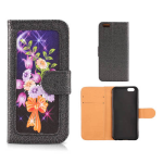 Wallet Diary Protector Case for Apple iPhone 6 Plus (Flower Design on Black)
