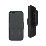 Unlimited Cellular Rubberized Kickstand Shell & Holster for Apple iPhone 5/5s/SE - Black