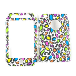 Unlimited Cellular Rocker Snap-On Case for Apple iPhone 3G - Colorful Leopard Print on White