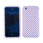 Cell Armor Snap-On Case for Apple iPhone 3G - 3D Embossed, Purple/White Checkers