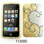 Unlimited Cellular Snap-On Case for Apple iPhone 3G (Full Diamond Crystal, Vines on Yellow and White)