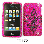 Unlimited Cellular Snap-On Case for Apple iPhone 3G (Full Diamond Crystal, Black Royal Badge on Pink)