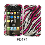 Unlimited Cellular Rocker Series Snap-On Case for Apple iPhone 3G - Full Diamond Crystal, White Zebra on Pink
