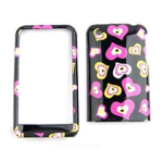 Cell Armor Snap-On Case for Apple iPhone 3G - Multi Funky Hearts on Black