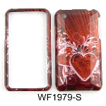 Unlimited Cellular Snap-On Case for Apple iPhone 3G (Transparent Design, Pink Heart on Red)