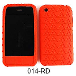 Unlimited Cellular Deluxe Silicone Texture Skin Case for Apple iPhone 3G (Red)