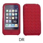 Unlimited Cellular Deluxe Silicone Texture Skin Case for Apple iPhone 3G (Dark Red)