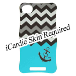 Cell Armor - iCARDIE Snap On Protector Case for Iphone 4G -  Black Anchor and BK/WH Chevron on Blue