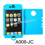 Unlimited Cellular Rocker Snap-On Case for Apple iPhone 4/4S (Fluorescent Solid Light Blue)