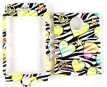 Rocker Series Snap-On Protector Case for Apple iPhone 4 / 4S (Hearts/Stars/Peace Signs on Black Zebra)