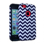 MYVI Series Slim Hybrid Protector Case for Apple iPhone 5 / 5S (Black/White Waves Snap and Black Skin)