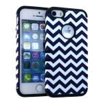 Rocker Series Slim Protector Case for Apple iPhone 5 / 5S (Black/White Waves Snap and Black Skin)