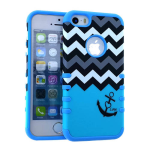 Rocker Series Slim Protector Case for Apple iPhone 5 / 5S (Black Anchor and Black/White Chevron on Blue)