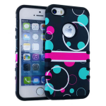 Rocker Series Slim Protector Case for Apple iPhone 5 / 5S (Red and Green Circle on Black Snap and Black Skin)