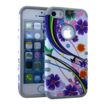 Rocker Series Slim Protector Case for Apple iPhone 5 / 5S (Flower and Rainbow and Butterfly)
