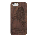 3D Knight Real Wood Protector Case for Apple iPhone 6 (Walnut Wood/Black Polycarbonate/Pattern Engraved)