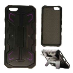 2-in-1 Hybrid Protector Case for Apple iPhone 6 (Black and Dark Purple with Stand)