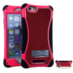 Kicker Series Protector Case for Apple iPhone 6 (Metal Red/Pink Snap and Black Skin with Stand)