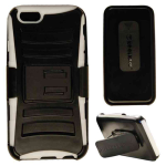 Novelty  Protector Case for Apple iPhone 6 (White Skin/Black Snap/Black Holster)