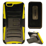 Novelty Protector Case for Apple iPhone 6 (Yellow Skin/Black Snap/Black Holster)