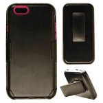 Novelty Protector Case for Apple iPhone 6 (Hot Pink Skin/Black Holster)