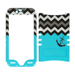 Rocker Series Snap-On Protector Case for Apple iPhone 6 (Black Anchor and Black/White Chevron on Blue)