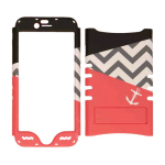 Rocker Series Snap-On Protector Case for Apple iPhone 6 (White Achor on Pink/Chevron/Black)