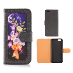 Wallet Diary Protector Case for Apple iPhone 6 (Flower Design on Black)