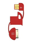 Scosche flipSYNC Keychain Micro USB/Apple 30 Pin Charge and Sync Cable for Android/iPhone - Red