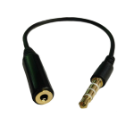 Unlimited Cellular 3.5mm Male to 2.5mm Female Headphone Audio 6 Inch Adapter Extender Jack (Black)