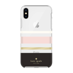 kate spade new york Flexible Hardshell Case for iPhone X/SX - Charlotte Stripe Black/Cream/Blush/Gold