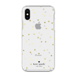 kate spade Flexible Hardshell Case for iPhone X/XS - Scatter Dot Gold with Gems