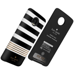 Kate Spade New York Moto Mod Wireless Charging Battery Pack for Moto Z Droid - Black/White/Gold Stripe