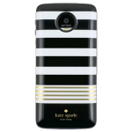 Kate Spade New York Moto Mod Battery Pack for Moto Z Droid, Moto Droid Force - Black/White/Gold Stripe (2220 mAh)