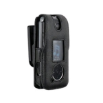 Infinity Padded Lambskin Case w/ Ratcheting Swivel Belt Clip for LG LX570 (Black)