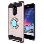 LG ARISTO 2/TRIBUTE DYNSATY METALLIC BRUSH METAL HYBRID CASE W/ RING STAND-ROSE GOLD