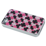 Reiko - Silver-Plated Protector Cover for Apple iPhone4/4S - Black/Pink