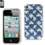 Reiko - Silver-Plated Protector Cover for Apple iPhone4/4S - Navy/Silver