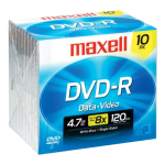 Maxell DVD-R 4.7GB Up To 16x Recording Slim Case (10-Pack)