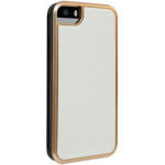 White Vegan Leather with Rose Gold Case for iPhone 5/5s