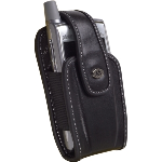 MILANTE Abruzzi Leather vertical holsterBlack with white stitching.