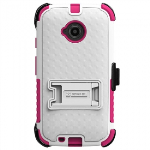 MOTOROLA MOTO E (2ND GEN) BEYOND CELL TRI SHIELD KOMBO CASE - WHITE/HOT PINK