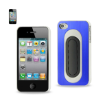 Reiko - Metallic Protector Cover Bend Back Viewong Stand for Apple iPhor 4S - Navy/White