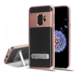 SAMSUNG GALAXY S9 HYBRID PROTECTOR CASE W/ MAGNETIC METAL STAND-METALLIC ROSE GOLD/TRANSPARENT CLEAR