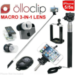 Marco Lens & Selfie Stick Bundle - Olloclip Macro 3-In-1 Photo Lens for iPhone 5/5S