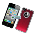 Eagle Cell Luxury Diamond Metal Case for iPhone 4/4s - Red