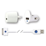 Qmadix USB Tri-Pack Charging Kit with Lightning connector (White)