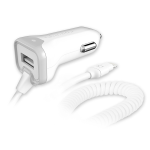 Qm Car Charger  3.4A Lightning w/extra USB Wht