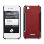 Qmadix Snap-On Face Plate for Apple iPhone 4 - Metalix Red
